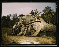 M-3 tank and crew using small arms, Ft. Knox, Ky.  (LOC) (The Library of Congress) Tags: june army war tank fort kentucky military wwii worldwarii lee ww2 soldiers libraryofcongress 1942 m3 fortknox worldwar2 usarmy wartime tommygun smallarms thompsonmachinegun xmlns:dc=httppurlorgdcelements11 dc:identifier=httphdllocgovlocpnpfsac1a35195 alfredtpalmer june1942 alfredpalmer m3lee fortknoxky m3tank m3leetank leetank