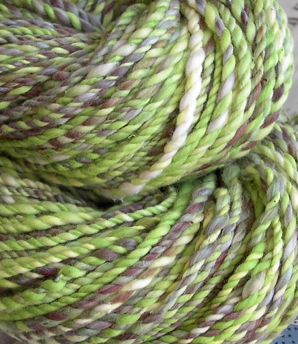 green and speckled frog handspun