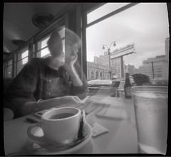 1-27-08, breakfast at the Cheyenne Diner, NYC (squaremeals) Tags: blackandwhite bw selfportrait newyork tea manhattan diner pinhole