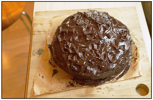 Chocolate Cake Covered in Ganache
