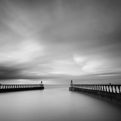 Twin Piers (Adam Clutterbuck) Tags: ocean uk longexposure greatbritain sea england blackandwhite bw cloud seascape west monochrome mouth river square landscape mono coast pier blackwhite cloudy unitedkingdom britain piers yorkshire bn east coastal shore elements whitby gb bandw sq limitededition northyorkshire esk greengage riveresk adamclutterbuck sqbw bwsq showinrecentset shortedition le50 limitededition50