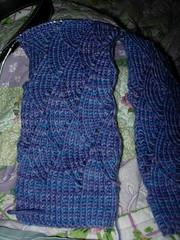 Pomatomus with flash (Knit n Frog) Tags: blue knitting sock purple handmade lace knit handknit lilac gift etsy knitty pomatomus handmadegift etsyyarn thankewe thankeweetsycom handknitgift