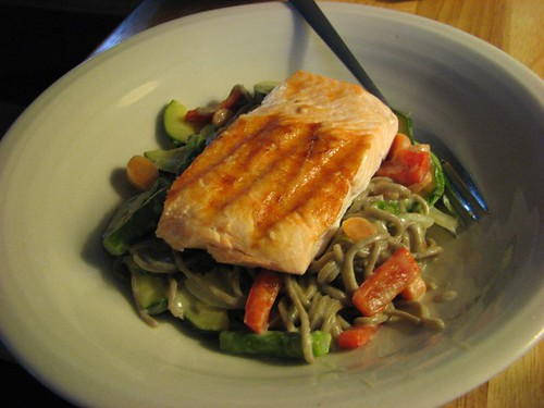 Green Curry Soba & Salmon