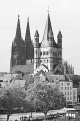 Great Saint Martin Church (Groß St. Martin Kirche) & Cologne Cathedral (Kölner Dom), Cologne, Germany (Downtime_1882) Tags: greatsaintmartinchurch grosstmartinkirche colognecathedral kölnerdom greatsaintmartinchurchcologne greatsaintmartinchurchköln church cathedral germany cologne landscape outdoors europe famous famousplace deutschland bw blackandwhite blackwhite vertical touristdestination touristdestinations travel traveldestination traveldestinations historic history past building buildingexterior buildingexteriors buildings architectural architecture canonef2470mmf28liiusm canoneos7d canoneos eos7d 7d canon