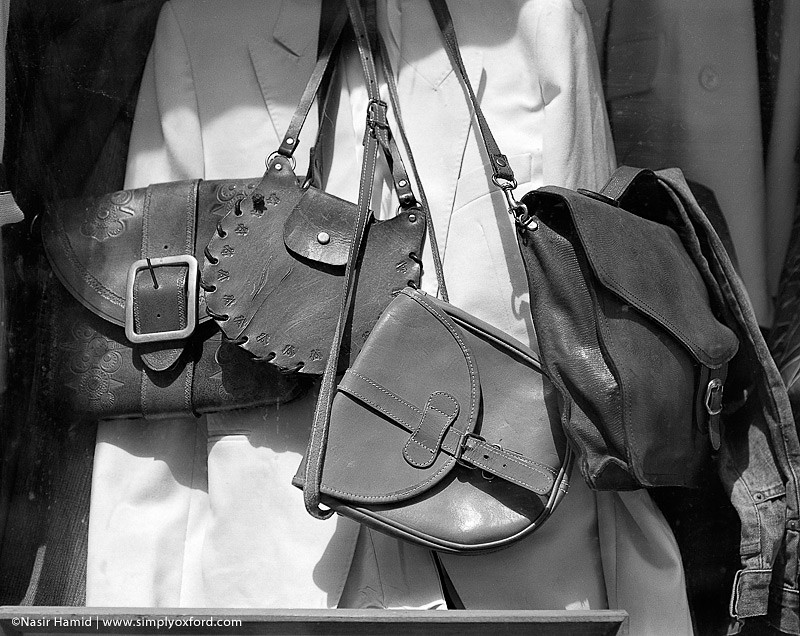 Leather bags in shop window