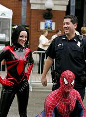 Guavaween - Crime Fighters (James D. Collins) Tags: costume florida spiderman police ybor 7thavenue guavaween spiderwoman canonef70200mmf4lisusm tampapolice guavaweenfamilyfreakfest heroesalliance guavaweencostume spiderwomancostume