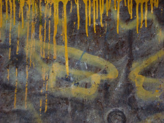 yellow streaks (JudyGr) Tags: abstract yellow metal paint interior rusty skip streaks dissymmetry haphazart