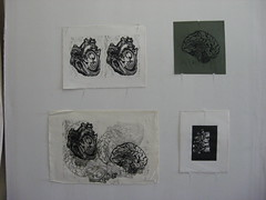 heart/heart, linocut; brain, lino cut; heart/brain, linocut; ischis, linocut