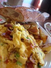 bacon, scallion, and cheddar scramble (vvvanessa) Tags: alex alan breakfast berkeley bacon potatoes amy baguette albany scallions cheddar scrambledeggs mealticket