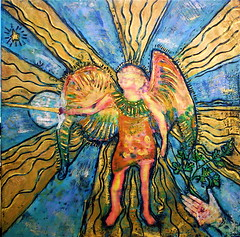Angel (blue_sea_art) Tags: angel painting mixedmedia encaustic archangelmichael colorart mixedmediapainting awardencausticpainting