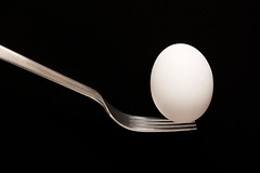 Balance Act (cloudsmountain) Tags: food white black cooking egg health balance strobist metalfork anawesomeshot