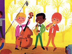 Alain Gree - L'Electricite  vintage kids book (Grain Edit.com) Tags: france kids illustration vintage french design colorful bass horns trumpet jazz books retro childrens 1960s saxophone doublebass childrensbooks uprightbass kidsbooks alaingree