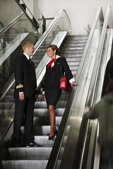 Brussels Airlines - pilot and flight attendant (baldpipeguy) Tags: blue red white male female scarf inflight uniform europe belgium wing cockpit purse uniforms cuff insignia stewardess pilot flightdeck necktie 2007 stewardesses flightattendants flightattendant cabincrew neckwear brusselsairlines stewardessuniform airlinefashion flightattendantuniform flightattendantuniforms cabincrewuniform