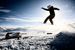 Jump it (Vlundur Jnsson) Tags: blue boy sky people sun snow contrast speed iceland high jumping shadows silouette tricks hut snowboards dalvk snowtwirl bggvistaafjall