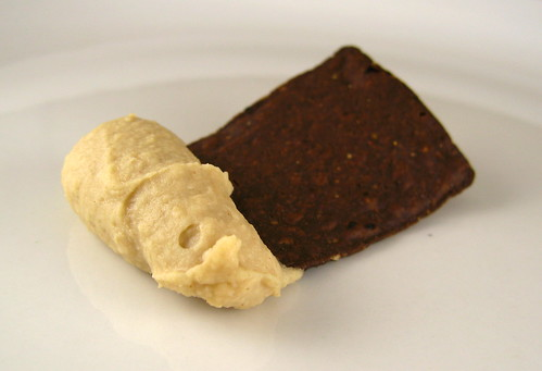 chocolate tortilla chip with peanut butter bean dip