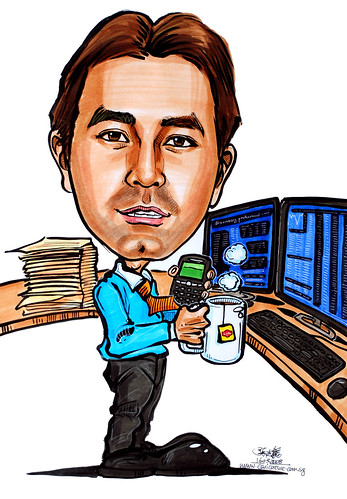 Caricature Bloomberg trader