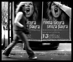 Fearless - Senza paura. (Alberto P. Photography) Tags: bw woman roma hair movement strada italia raw sony streetphotography cybershot blond donne movimento panning emotions bianco nero breathtaking advertisment manifesto crimes fearless capelli mosso bsp crimini blondhair senza paura blueribbonwinner manifestazioni cahiersducinema biondi streetphotoraphy stradediroma fotoguiaorg beginnerstreetphotography dscw35 heartawardgroup artistshiddenworld albertopixel misfatti ofstreet criminicontroledonne crimesagainstwomen
