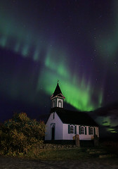 Church Bathed in Northern Lights (orvaratli) Tags: travel landscape iceland unesco aurora northernlights auroraborealis borealis icelandic ingvellir auroras northernlight solarstorm magneticstorm norurljs mywinners anawesomeshot northernlightsingvellir arcticphoto rvaratli orvaratli