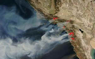 Southern California wildfires 2007 - satellite photo