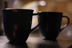 Two cups of tea (Stefsan (on and off)) Tags: texture cup backlight colours dof tea vapour fume reflexes stefsan stefansandmeier