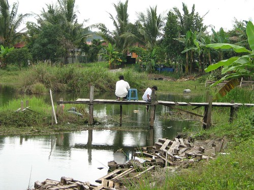 Fishing at the Semenyih pond