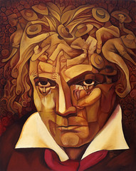 Beethoven's 5th (Paul N Grech) Tags: portrait musician music art face angel modernart surreal beethoven musical illusion violin orchestra classical pianist symphony oilpainting ludwigvanbeethoven odetojoy paulgrech