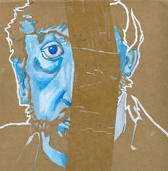 self-portrait #08 guache on cardboard 7 x 7