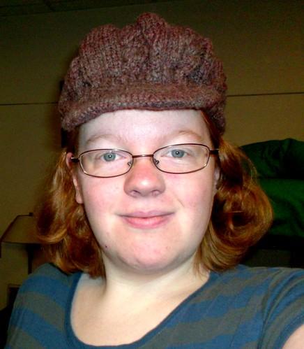 Handspun handknit cabled newsboy hat