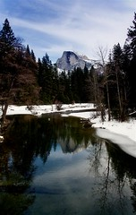 Half Dome Reflection - Another Perspective (Cliff Stone) Tags: winter snow reflection water landscape yosemite halfdome yosemitenationalpark yosemitevalley mercedriver usnationalparks canonefs1785is canoneos40d