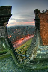 Castle Edge, Edinburgh (The Other Martin Tenbones) Tags: castle night dawn scotland edinburgh fisheye hdr