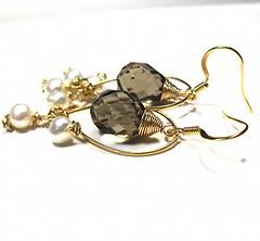 love of luxury (lildid) Tags: love beauty earings lady gold jewelry pearls 14k earrings elegance smokeyquartz briolette