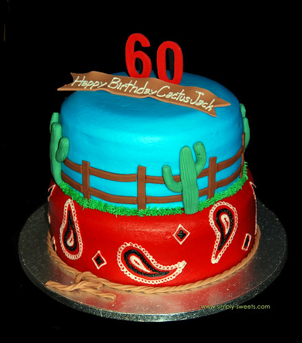 Western themed 60th Birthday Cake