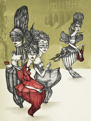 The Bodice Rippers (liza bliss) Tags: venice ladies apple shopping knife beehive scissor theives