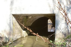 Concrete bridge over a stone arch