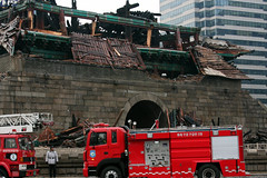 Namdaemun & fire trucks