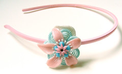 Pink, Blue and White Vintage Flowers Headband