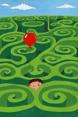 maze: PRINT AVAILABLE (WOTTO*) Tags: boy cute green art illustration painting print children artwork child illustrations maze storybook redballoon available gouche inprnt lostinmaze wotto