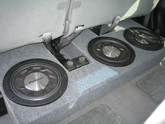 Custom subwoofer box with three 12