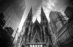 St. Patrick's Cathedral (KAALpurush) Tags: bw ny newyork church architecture cityscape manhattan gothic stpatrickscathedral grand avenue 5th hdr urbanscape superwideangle streetarchitecture dynamicperspective religiousbuilding nypostcards magnificentarchitecture