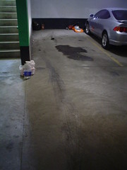 THE MAVS PARKING SPOT & OIL PUDDLE (Laprell Fontaine) Tags: ford car vintage 1974 200 dork maverick bestcarever 4door 1bbl themav willneversell