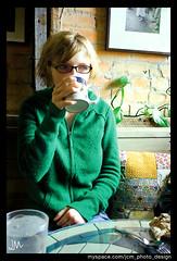 Katie at Amazing Grace (Jamie M. / jcm-photo.com) Tags: portrait food green minnesota breakfast restaurant hoodie mocha 100views mug mn duluth windowlight amazinggrace