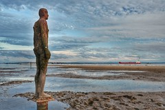 The Watcher (IamJomo) Tags: ship water sky sand beach liverpool crosbybeach anthonygormley anotherplace