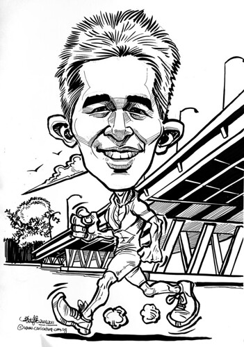 marathon runner caricature at Benjamin Sheares Bridge
