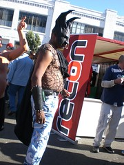 Super...Whatever (panavatar) Tags: leather weird mask horns ears bondage bull batman nosering folsomstreetfair gauntlets