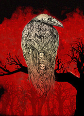 The Raven (shaire productions) Tags: trees red tree bird art halloween illustration pencil design scary wings artwork graphics faces graphic mechanical designer drawing gothic bio thai horror editorial production illustrator nightmare draw drawn raven productions poe sherrie graphite prod fright biomechanical detailed edgarallenpoe edgarallanpoe theraven sherriethai shaire shaireproductions graphicalchemy