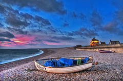 Once more unto the beach, dear friends (petervanallen) Tags: sunset sea beach night clouds portland lights coast boat inn pebbles dorset hdr jurassic chesil 3exp