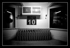 On Deck (Waka Jawaka) Tags: cruise november blackandwhite bw white black monochrome night boat ship 10 agadir deck morocco destiny thomson ten canaries 2007 sunbeds