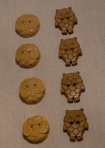 owl beads and buttons