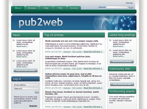Example of a pub2web publications platform homepage