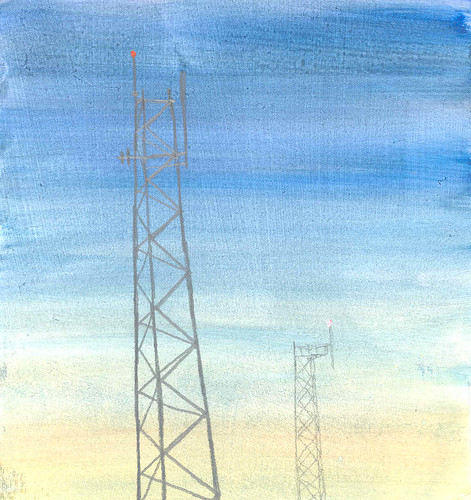tower 3, acrylic on paper
